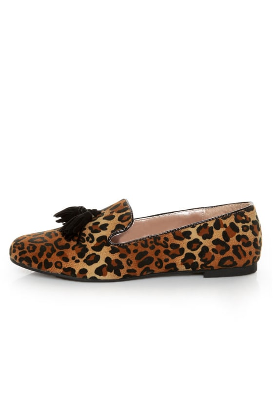 Yoki Frida Leopard Print Tassel Smoking Slipper Flats