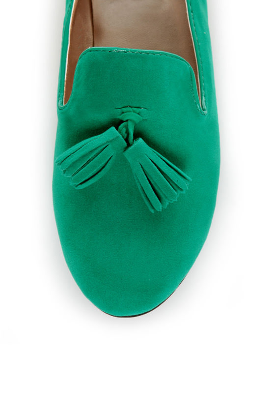Yoki Frida Teal Tassel Smoking Slipper Flats at Lulus.com!
