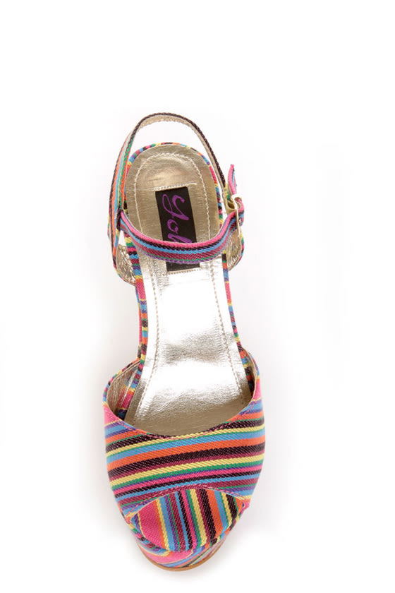Yoki Kelly 12 Fuchsia Guatemala Striped Platform Heels at Lulus.com!