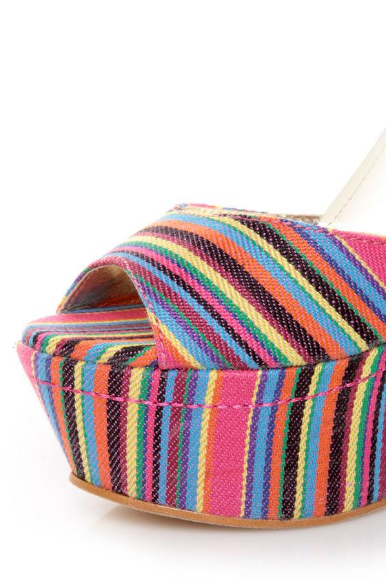 Yoki Kelly 12 Fuchsia Guatemala Striped Platform Heels