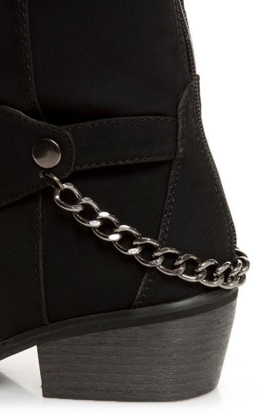Yoki Kelsey Black Chain Gang Knee High Boots