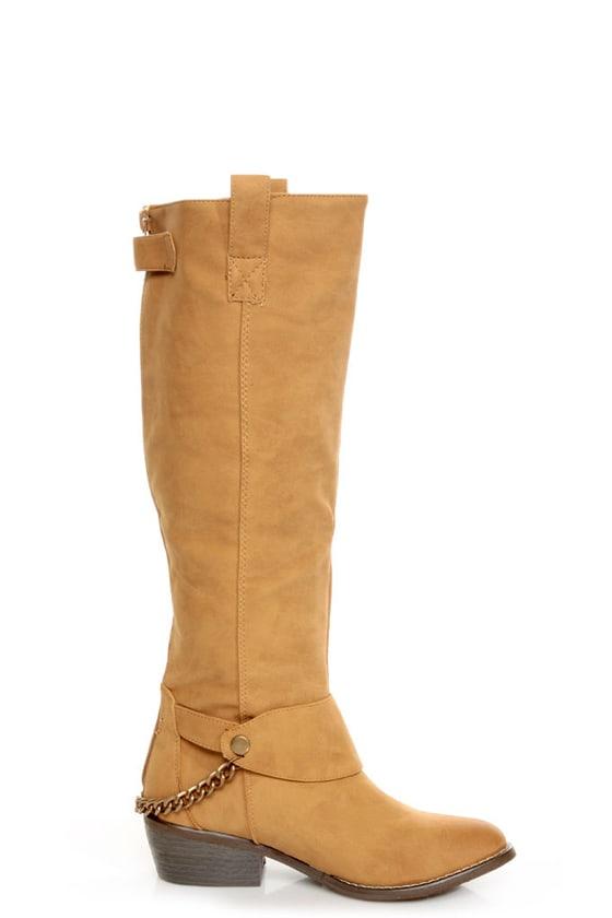 Yoki Kelsey Mustard Tan Chain Gang Knee High Boots