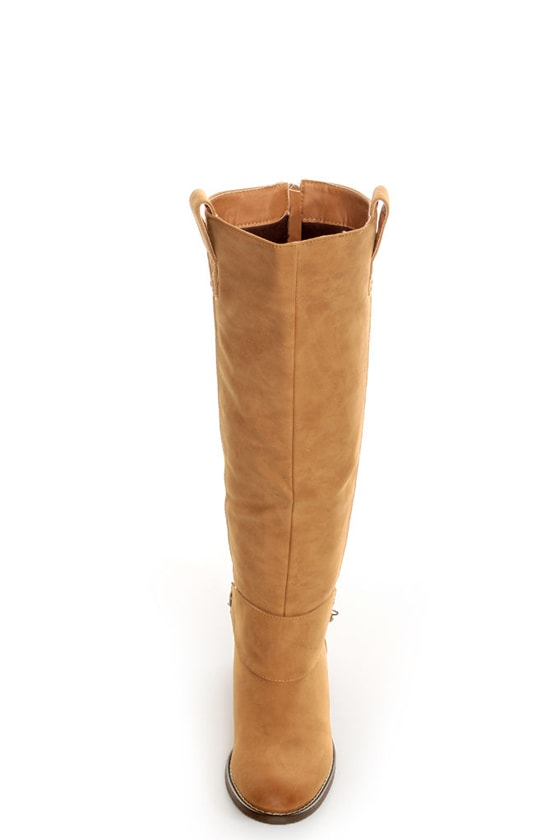Yoki Kelsey Mustard Tan Chain Gang Knee High Boots
