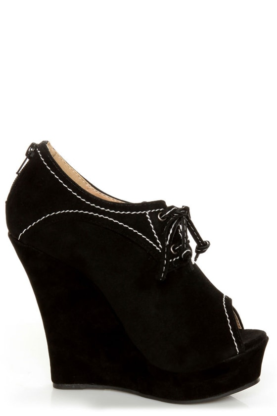 Yoki Stellar Black Top-Stitched Lace-Up Peep Toe Wedges