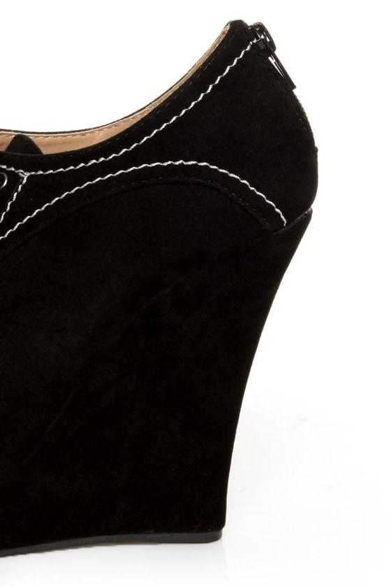 Yoki Stellar Black Top-Stitched Lace-Up Peep Toe Wedges