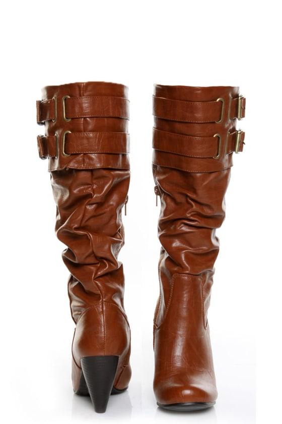 Yoki Sylvia 84 Rust Buckled High Heel Boots