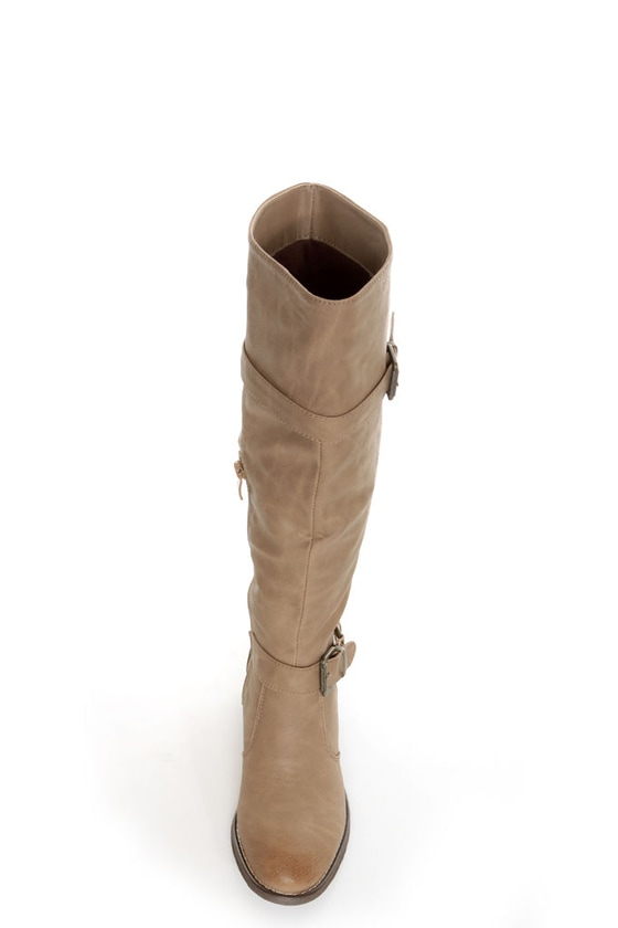 Yoki Tammy 2 Beige Belted Knee High Riding Boots