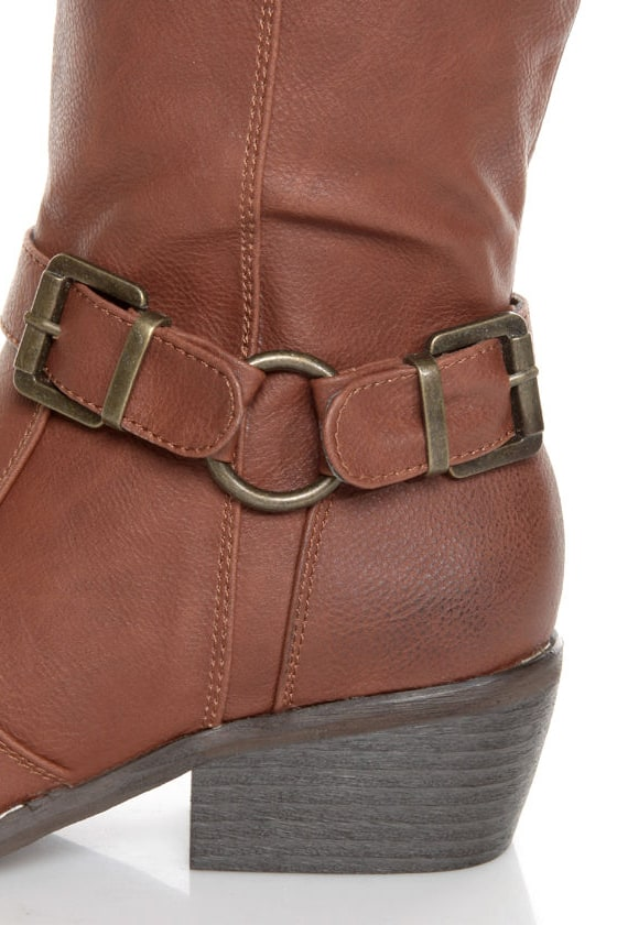 Yoki Tammy 2 Rust Brown Belted Knee High Riding Boots at Lulus.com!