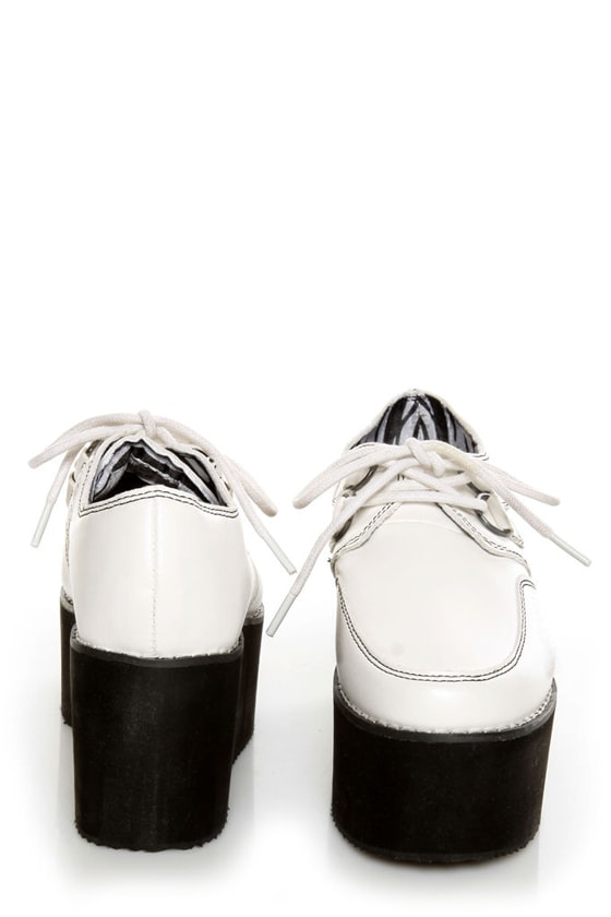 Y.R.U. Kreep White Lace-Up Creeper Platforms at Lulus.com!
