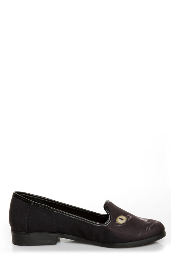 Y.R.U. Lowf Black Cat Print Smoking Slipper Flats