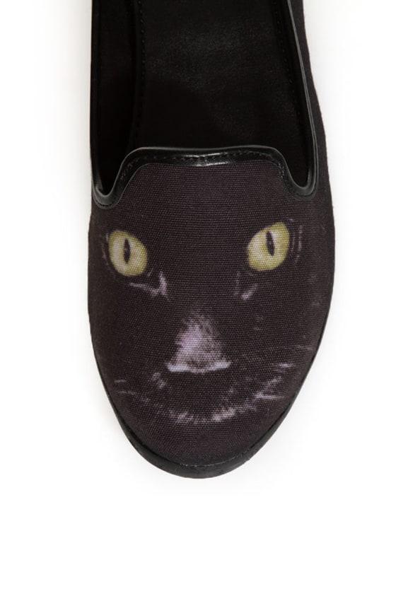 Y.R.U. Lowf Black Cat Print Smoking Slipper Flats
