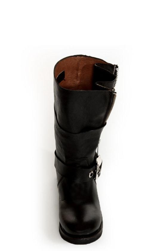 Zigi Girl Tangle Black Leather Heavy Metal Motorcycle Boots