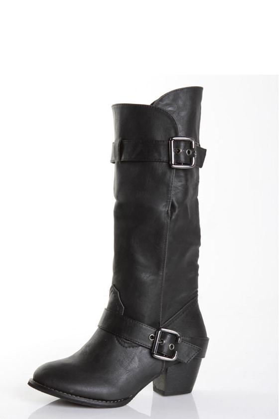 Wild Diva Dicada 01 Black Vegan Leather Rugged Cuff Boots