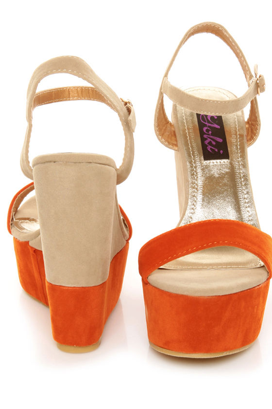 Yoki Celia 09 Orange & Taupe Color Block Platform Wedges at Lulus.com!