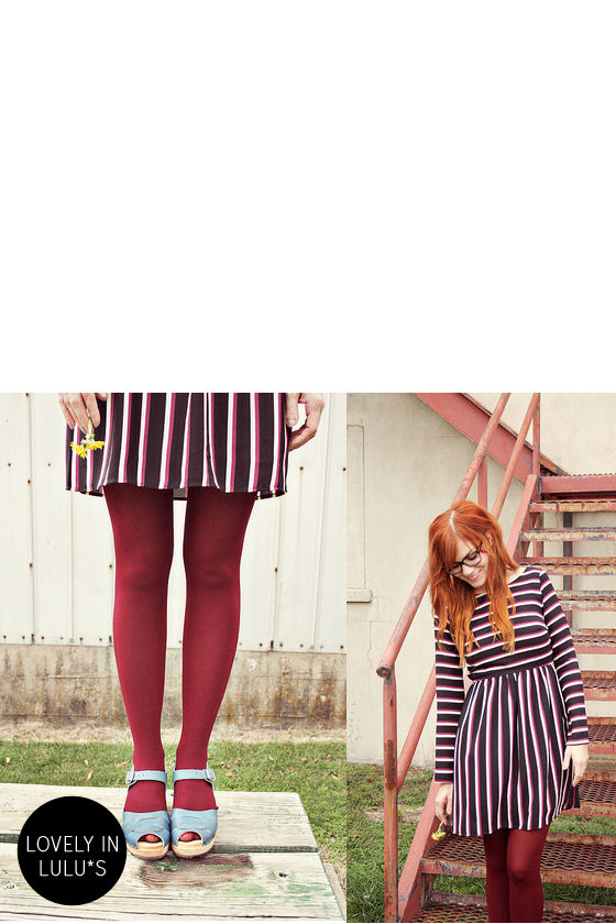 First In Line Black Striped Dress at Lulus.com!