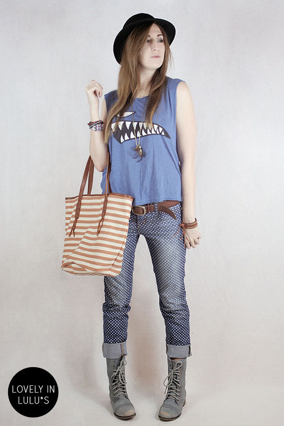Dot Your Average Blue Polka Dot Skinny Jeans at Lulus.com!