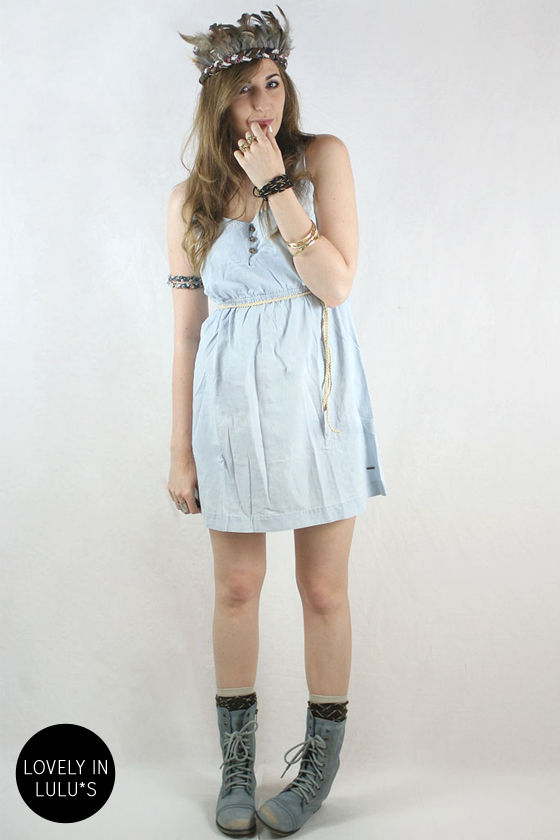 Volcom Wandering Eyes Light Blue Belted Dress at Lulus.com!