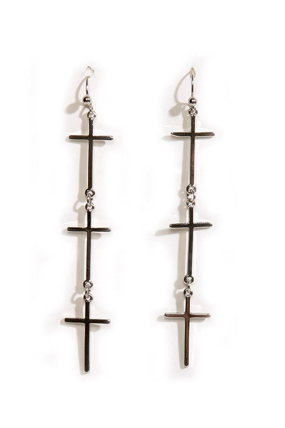 Vampire-Proof Silver Cross Earrings