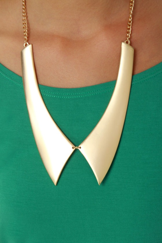 Last Minute Finish Gold Collar Necklace at Lulus.com!