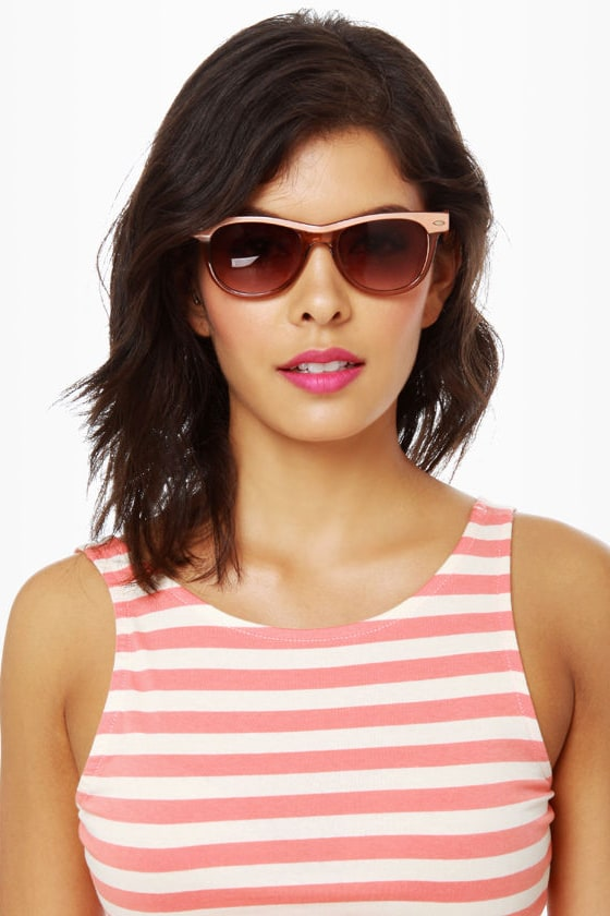 Say What Peach Sunglasses at Lulus.com!