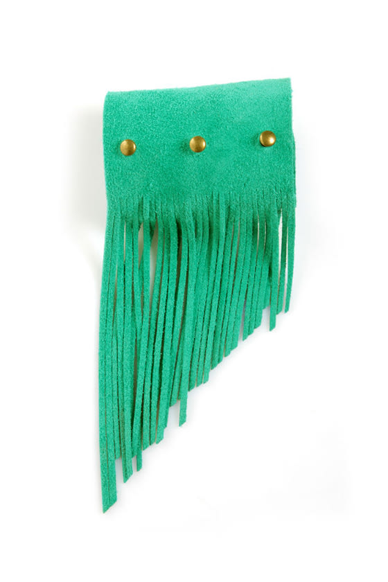Amy Waltz Cuff Me Up Teal Fringe Leather Cuff