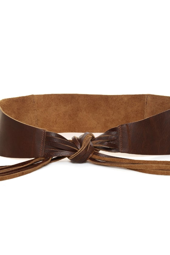 Waist Land Brown Fringe Leather Belt at Lulus.com!