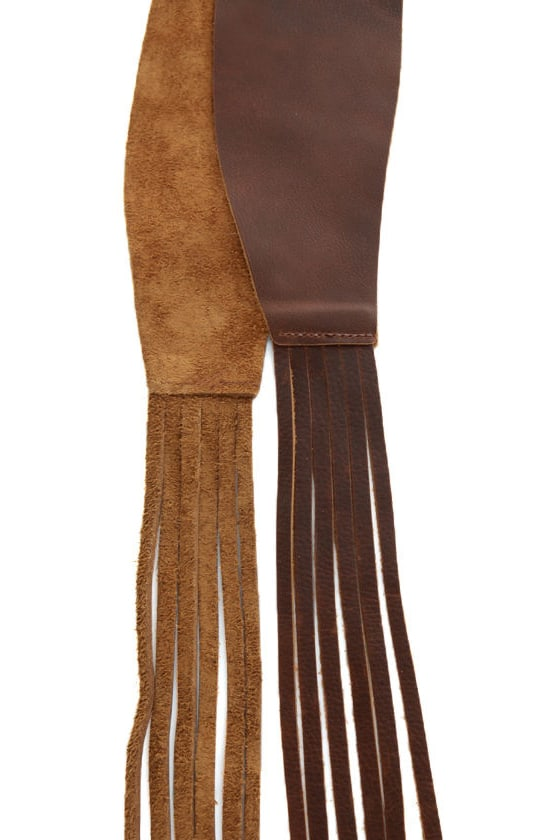 Waist Land Brown Fringe Leather Belt