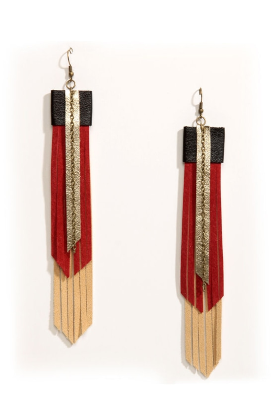 Claire Fong Arizona Skies Fringe Leather Earrings at Lulus.com!