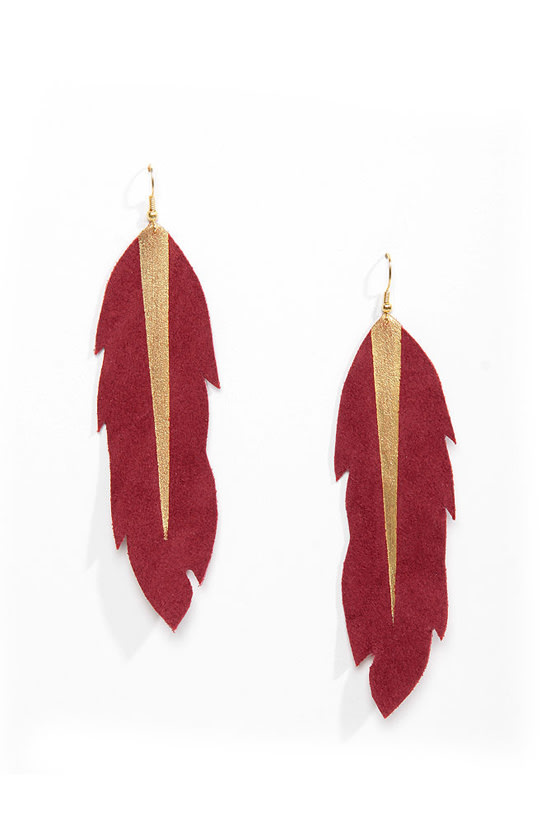 Claire Fong Tiger Lily Red Feather Earrings at Lulus.com!