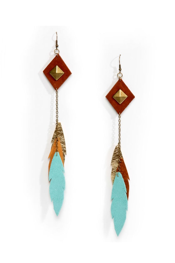 Claire Fong Fine by Far Blue and Tan Leather Earrings