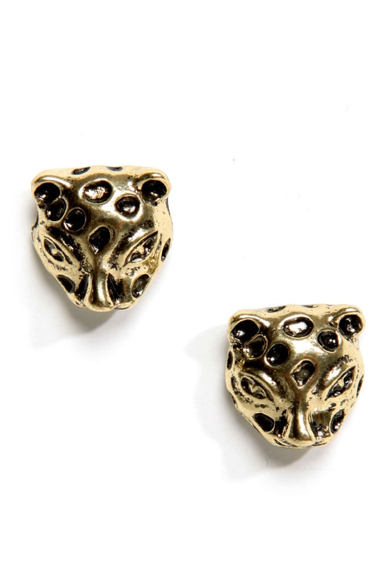 Jungle Look Gold Leopard Earrings at Lulus.com!