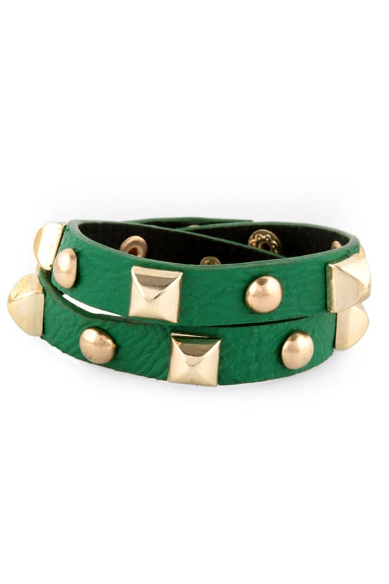 Backstage Pass Studded Green Cuff