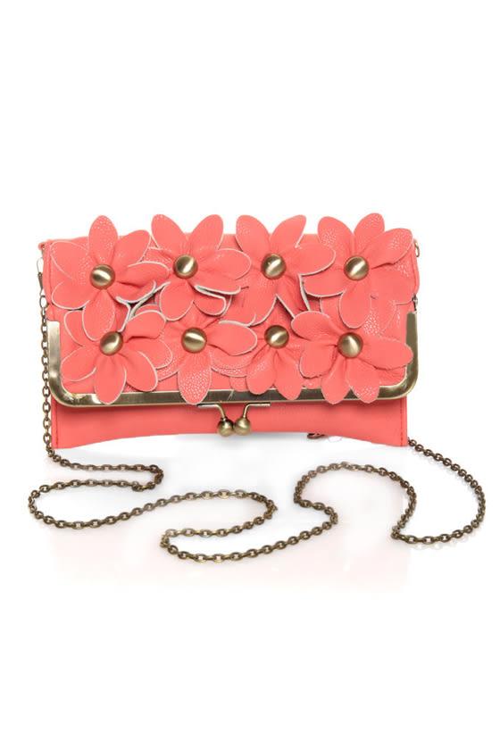 Cosette Floret Coral Pink Clutch