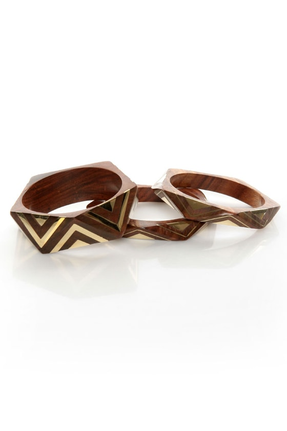 Angle of the Morning Brown and Gold Bangle Set at Lulus.com!