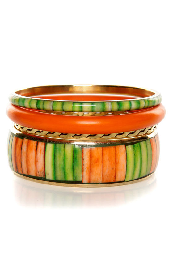 Natural Wonder Orange and Green Bangle Set at Lulus.com!