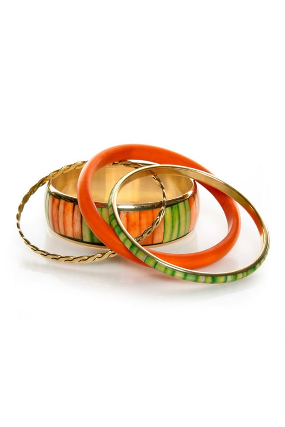 Natural Wonder Orange and Green Bangle Set