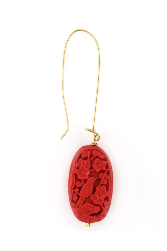 Wu Zetian Gold and Red Earrings