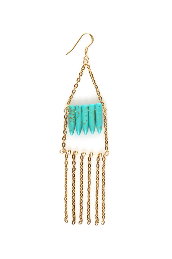Tip Off Turquoise and Gold Earrings