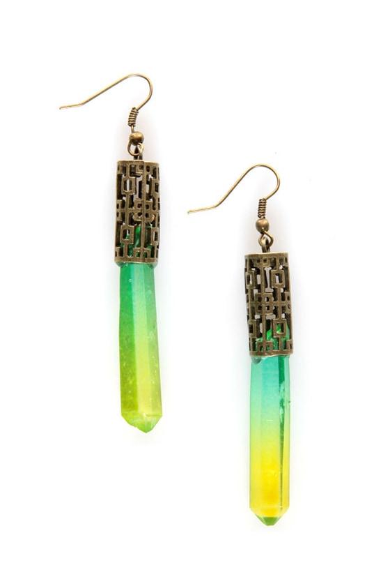 Xanadu Green Crystal Earrings