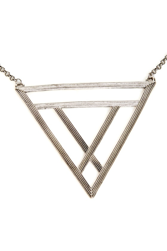Tri Me Silver Triangle Necklace at Lulus.com!