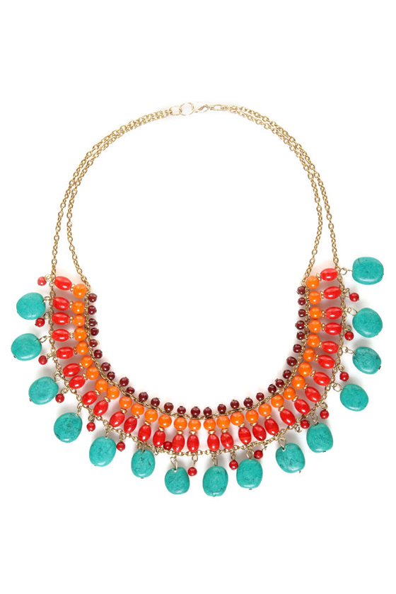 Ring of Fire Beaded Necklace