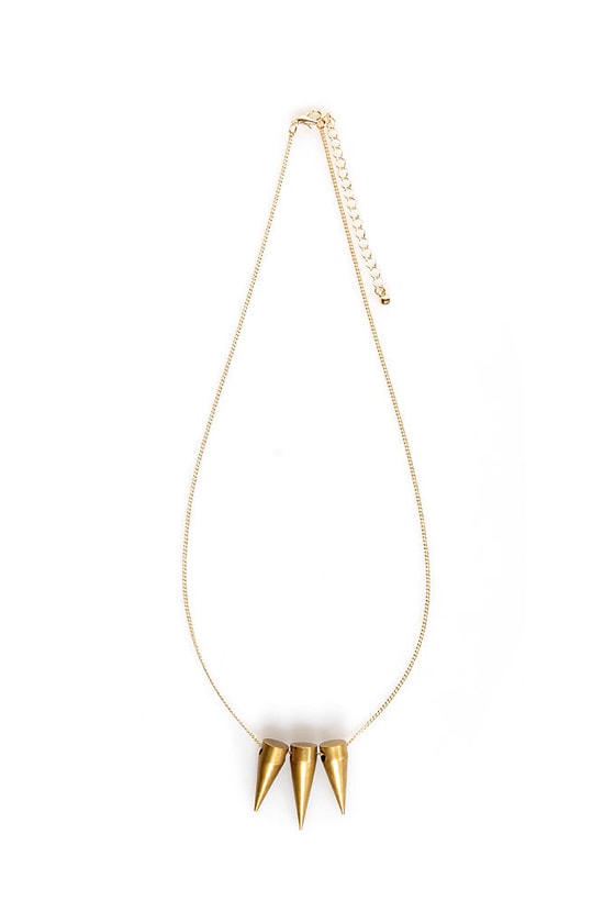 Speeding Bullet Gold Spike Necklace at Lulus.com!