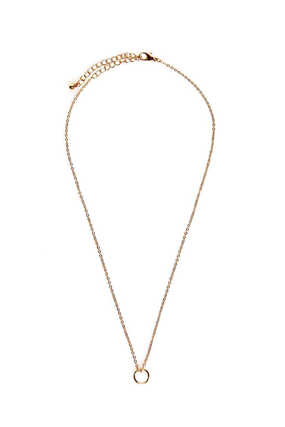 Tiny Finery Gold Ring Necklace at Lulus.com!