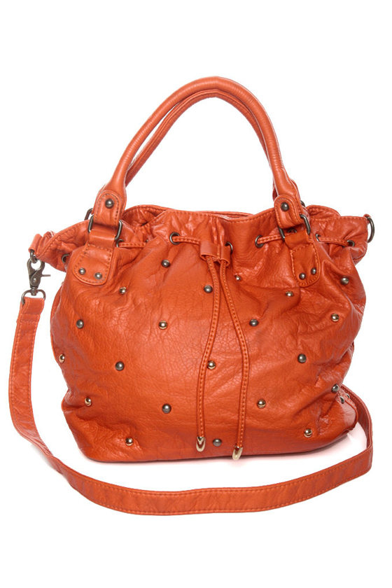Cute Orange Purse - Studded Purse - Vegan Purse