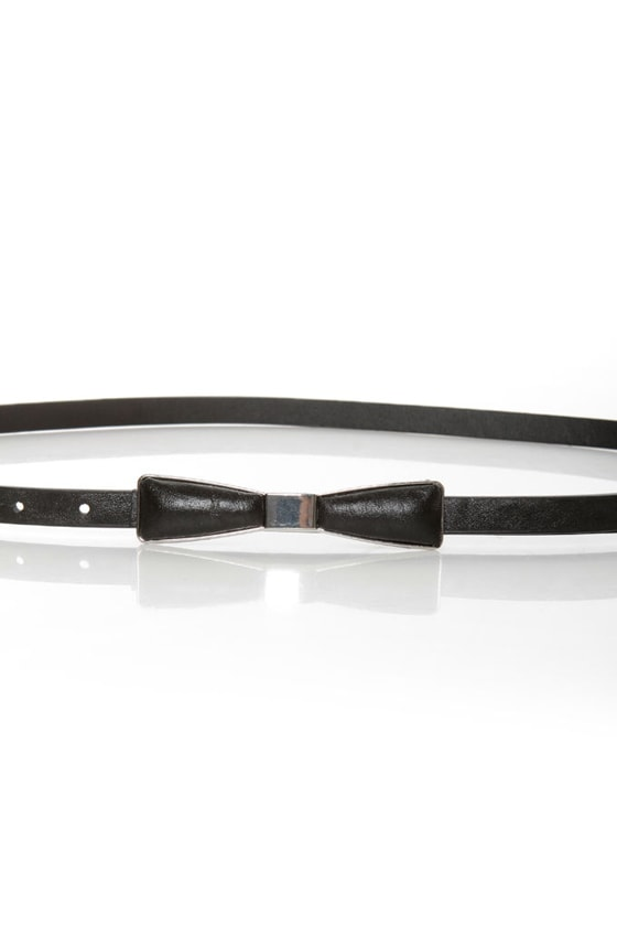 Decoration of Independence Skinny Silver and Black Bow Belt at Lulus.com!