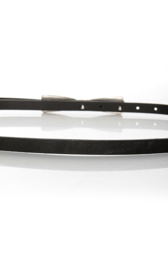 Decoration of Independence Skinny Black Bow Belt