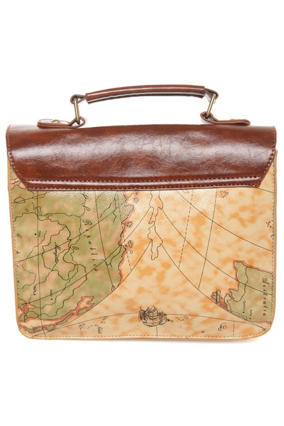 Happily Ever Atlas Map Print Satchel at Lulus.com!