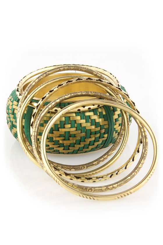Weave Got It Goin' On Green Bangle Set