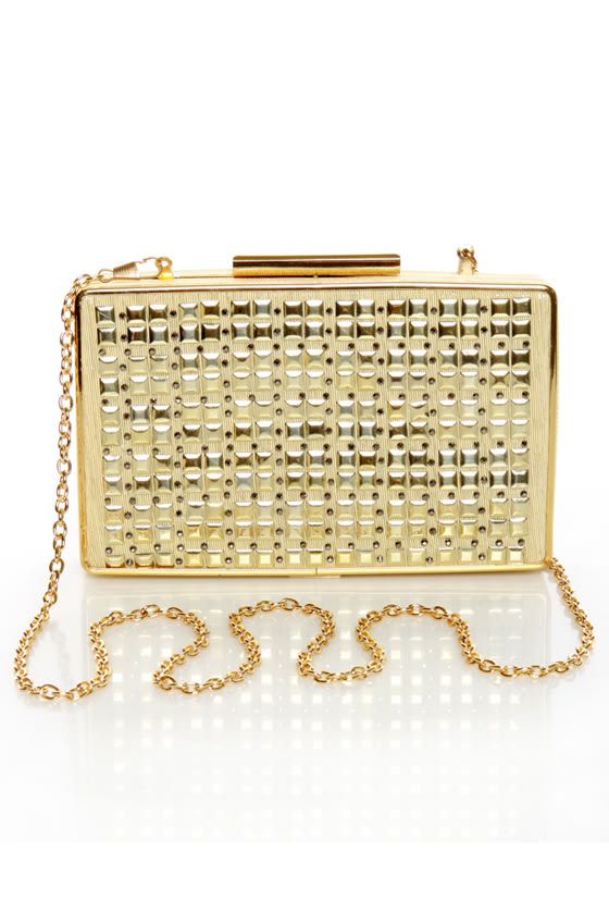 Young and Gold Studded Gold Purse at Lulus.com!