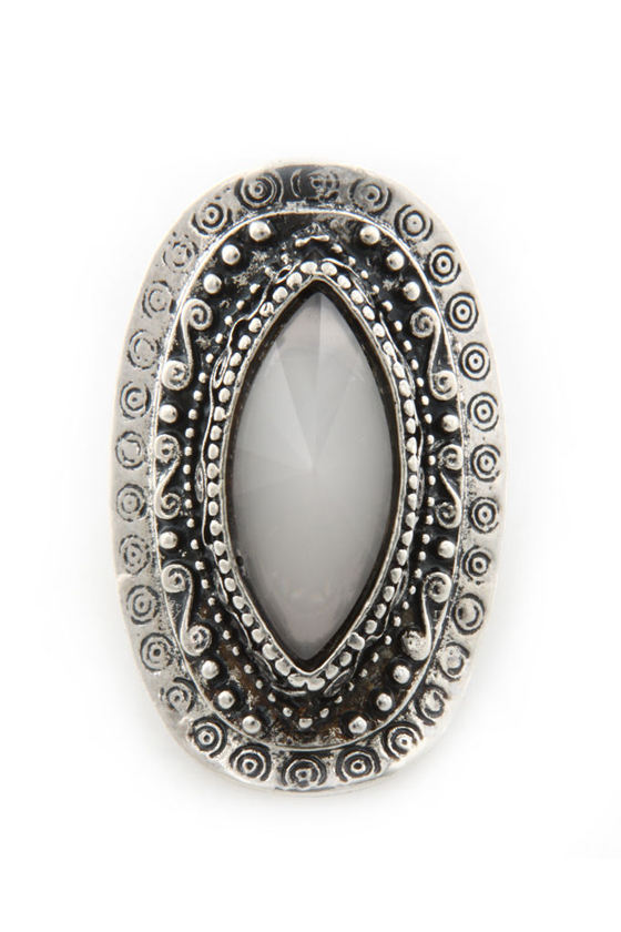 Eye of Mystery Oval Silver Ring